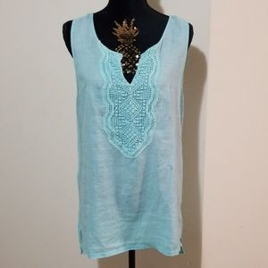 August Silk Turquoise Linen & Knit High Low Tank